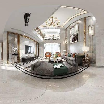 现代客厅餐厅全景模型, 现代客厅, 现代餐厅, 全景模型, 360, 别墅