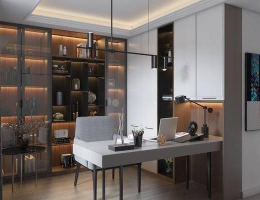 书桌, 桌椅组合, 书柜, 摆件, 吊灯
