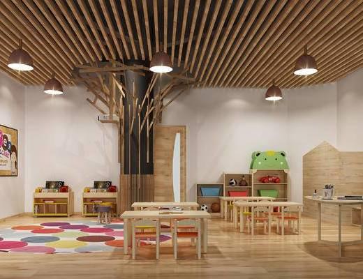 教室, 儿童, 桌子, 吊灯, 娱乐