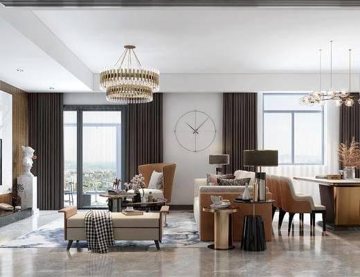 沙發組合, 茶幾, 墻飾, 吊燈, 擺件組合
