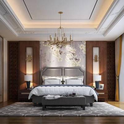 新中式, 卧室, 衣帽间, 吊灯, 地毯, 床, 床头柜, 台灯