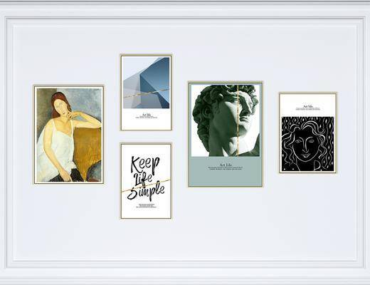 装饰画, 挂画, 组合画, 照片墙, 艺术画, 抽象画, 北欧