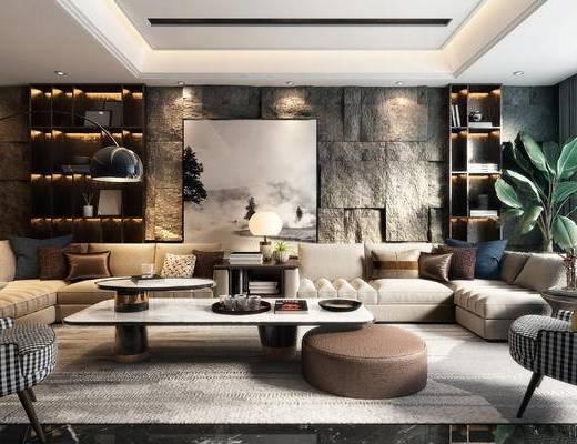 沙发组合, 茶几, 单椅, 植物, 抱枕