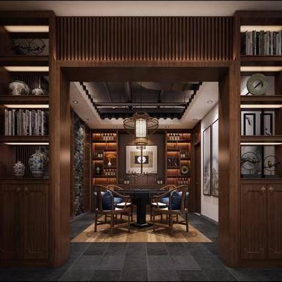 茶室, 茶桌, 单人椅, 餐椅, 装饰柜, 摆件, 装饰品, 陈设品, 书籍, 吊灯, 装饰画, 挂画, 新中式