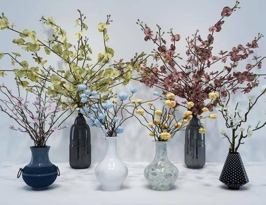 花瓶花卉, 新中式