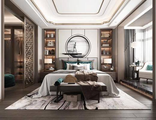 卧室, 新中式卧室, 床具组合, 双人床, 床尾榻, 书柜, 书籍, 摆件组合, 台灯, 单椅, 新中式