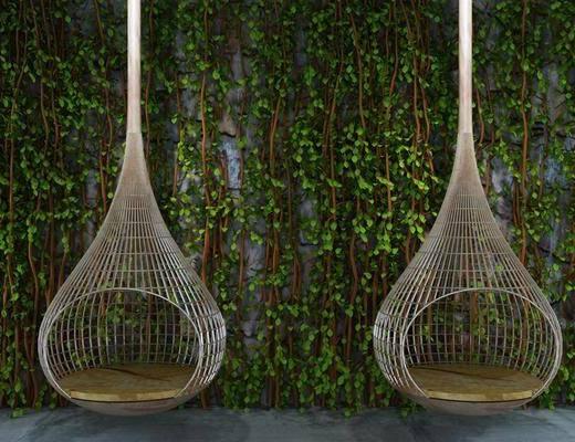 植物墙, 户外椅, 吊椅, 现代