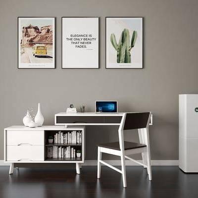 北欧储物书桌椅, 书桌, 装饰画, 椅子, 储物柜