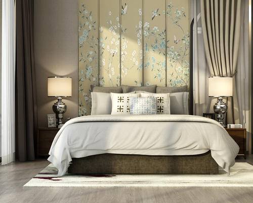 中式卧室, 卧室, 床, 床头柜, 台灯, 床品