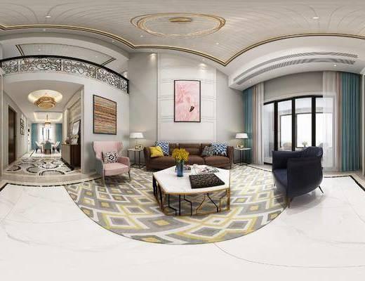 现代客餐厅, 客厅, 客餐厅, 现代客厅