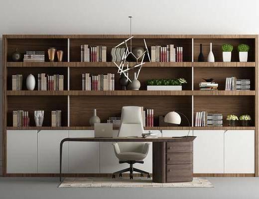 书房, 书柜, 装饰柜, 书籍, 办公椅, 单人椅, 装饰品, 陈设品, 吊灯, 现代