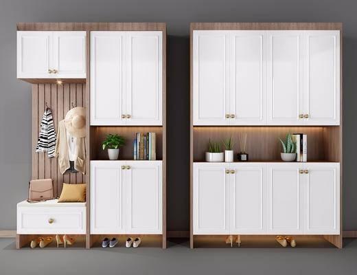 实木鞋柜, 置物柜, 盆栽, 书, 衣服, 现代