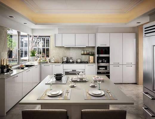 现代, 厨房, 橱柜, 厨具, 餐具, 餐桌椅, 电器