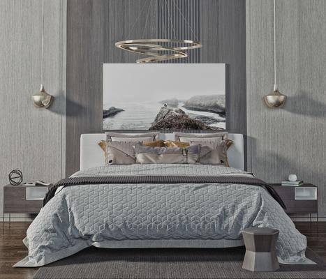 吊灯, 挂画, 抱枕, 床头柜, 装饰品