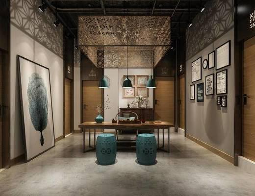 工业风, 茶室, 桌椅组合, 装饰画, 灯具, 摆件