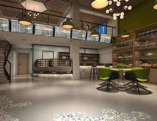 面包店, 甜品店, 餐桌椅, 桌椅组合