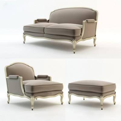 双人沙发, 单人沙发, 脚踏沙发, 沙发凳, 简欧