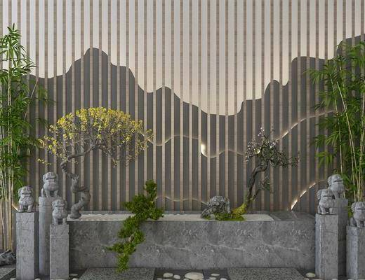景观小品, 园艺小品, 盆栽, 竹子, 中式
