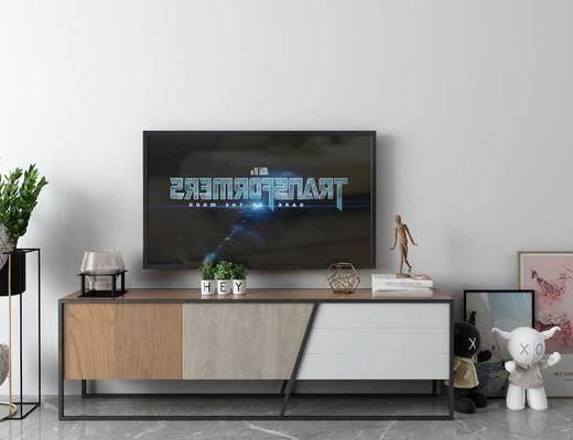 盆栽, 挂画, 电视柜, 摆件组合