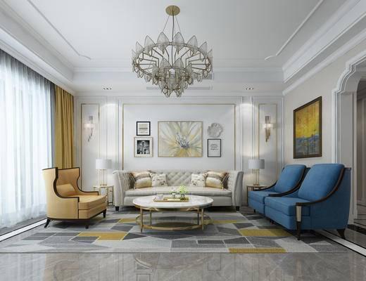 客厅, 简欧客厅, 欧式客厅, 吊灯, 沙发, 茶几