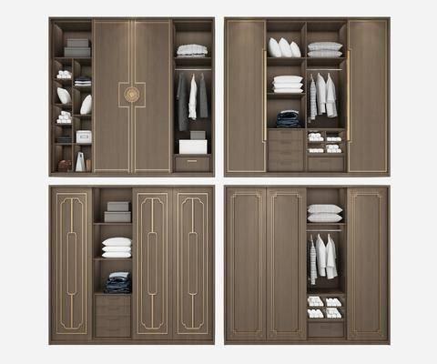 衣柜组合, 装饰柜, 服饰, 新中式