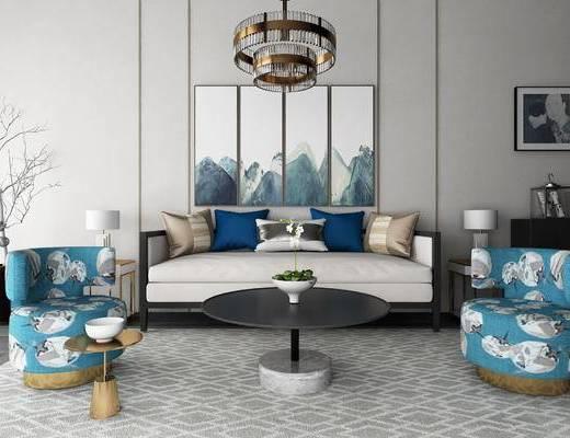 新中式, 沙发, 单椅, 单人沙发, 圆几, 茶几, 摆件, 盆栽, 装饰画, 挂画, 吊灯, 装饰柜, 陈设品, 植物, 干支, 瓷器, 花瓶