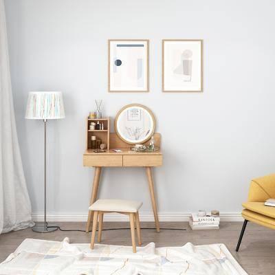 實木梳妝臺, 桌椅組合, 掛畫組合, 擺件組合, 北歐