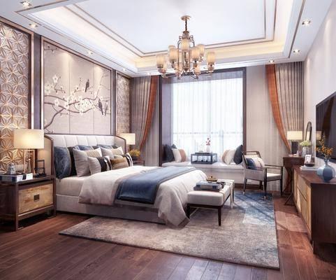卧室, 双人床, 床头柜, 台灯, 床尾凳, 单人沙发, 化妆台, 榻榻米, 摆件, 装饰品, 陈设品, 电视柜, 边柜, 新中式