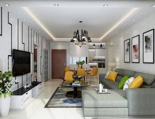 客廳, 餐廳, 沙發組合, 沙發茶幾組合, 餐桌椅組合, 餐具組合, 掛畫組合, 邊柜組合, 擺件組合, 吊燈, 裝飾柜, 現代