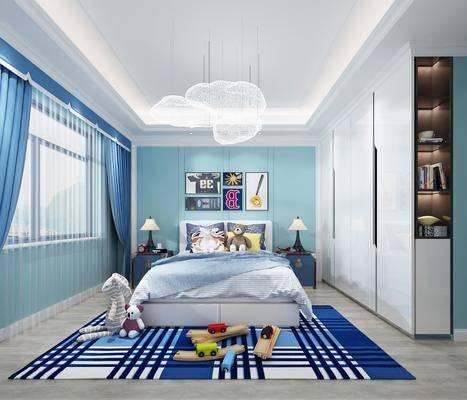 儿童房, 卧室, 床具组合, 挂画组合, 装饰柜, 玩具组合, 吊灯组合, 现代