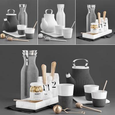 热水壶, 保暖瓶, 食物, 杯具组合