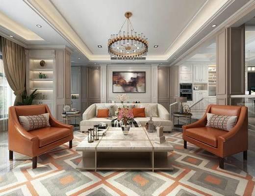 沙发组合, 茶几, 单椅, 抱枕, 吊灯