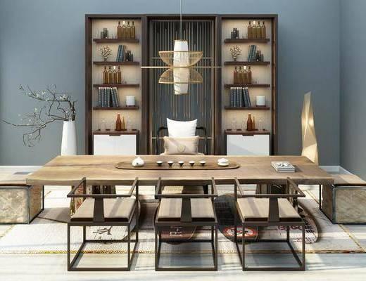茶室, 茶桌, 单人椅, 茶具, 装饰柜, 酒柜, 酒瓶, 吊灯, 花瓶花卉, 摆件, 装饰品, 陈设品, 新中式