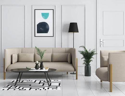 沙发组合, 茶几, 落地灯, 盆栽植物, 装饰画