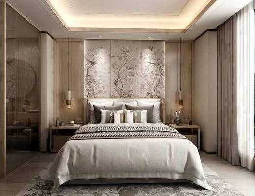 双人床, 床头柜, 吊灯, 吊顶, 背景墙, 地毯, 窗帘