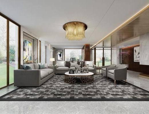 客厅, 现代客厅, 沙发组合, 沙发茶几组合, 现代沙发, 吸顶灯