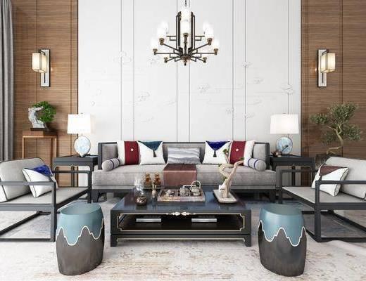 沙发组合, 多人沙发, 茶几, 单人沙发, 凳子, 边几, 台灯, 壁灯, 吊灯, 摆件, 装饰品, 陈设品, 盆栽, 装饰架, 新中式