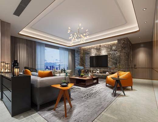 后现代客厅, 布艺沙发, 花枝灯, 懒人沙发, 边柜, 角几
