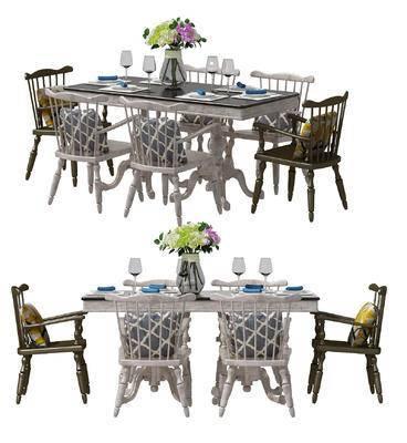 美式, 餐桌椅, 桌椅组合, 桌子, 椅子, 单椅, 餐具