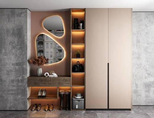 鞋柜, 柜架组合, 壁镜, 摆件组合