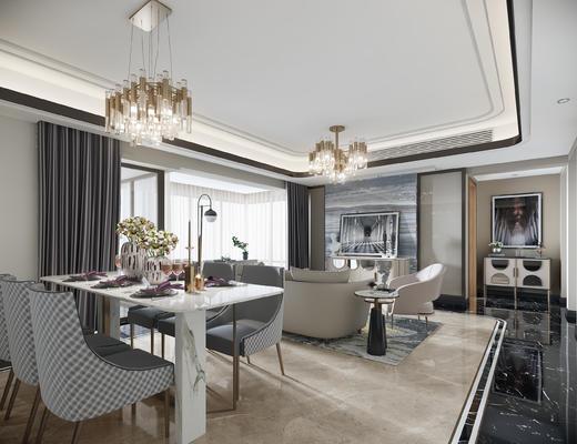 现代客厅, 吊灯, 餐桌椅组合, 玄关柜, 装饰画