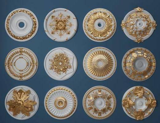 石膏雕花, 燈盤, 歐式構件, 歐式
