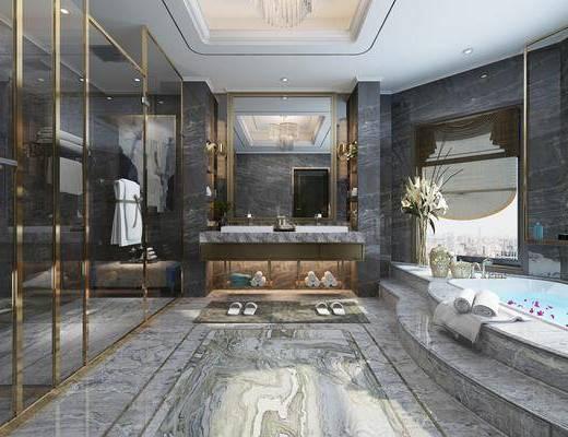 卫生间, 卫浴, 现代卫生间, 现代轻奢, 浴缸, 卫浴小件, 洗手台, 摆件, 花瓶花卉, 现代
