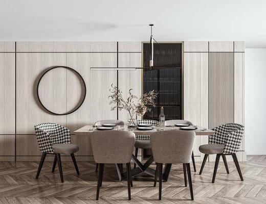 现代餐桌, 餐桌椅, 饰品, 摆件