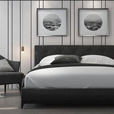 双人床, 床具, 装饰画, 挂画, 吊灯, 单人沙发