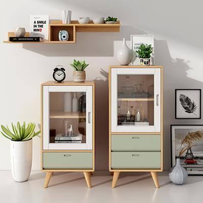 装饰柜, 边柜, 书架, 置物柜, 摆件组合