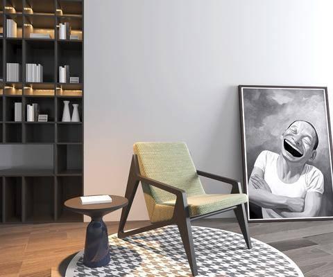 休闲椅组合, 书柜组合, 书籍组合, 现代