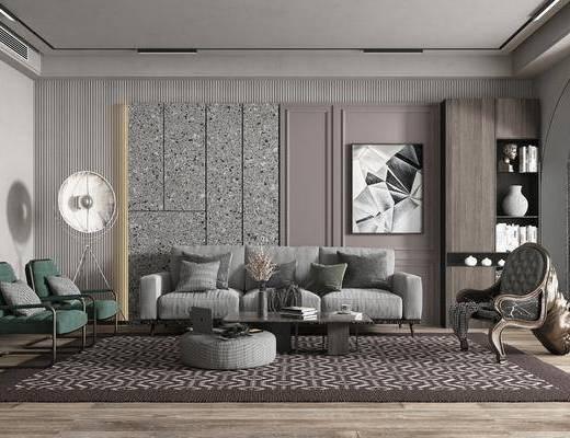 现代简约, 客厅, 多人沙发, 单椅, 装饰画, 边几
