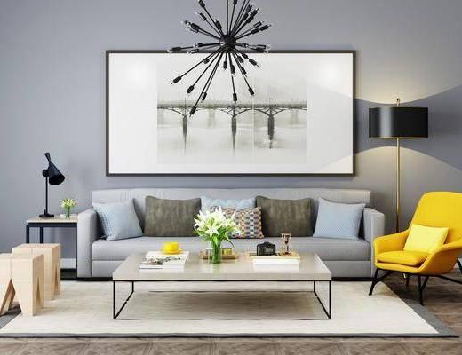 沙发组合, 茶几组合, 装饰画, 吊灯, 落地灯