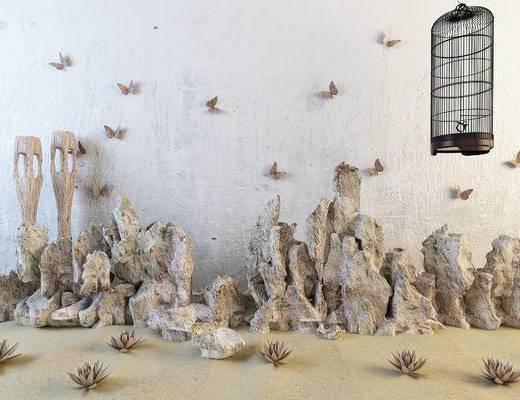 中式假山, 石头摆设, 景观, 鸟笼, 蝴蝶墙饰
